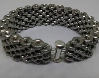 Stainless Steel Hex nut bracelet #4-40 hex nuts. Silver slide lock clasp