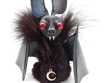 Bat Art Toy, OOAK Handmade Art Doll Animal