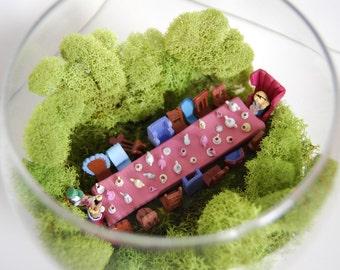 Disney Alice in Wonderland Mad Tea Party Polymer Clay Miniature Terrarium