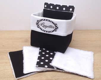 basket retro style black and white and washable and reusable wipes in Oeko-Tex cotton and bamboo velvet, environmentally friendly