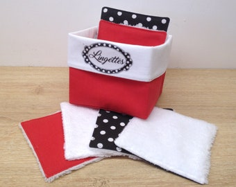 basket and washable and reusable wipes in Oeko-Tex cotton and bamboo velvet , environmentally friendly and zero waste