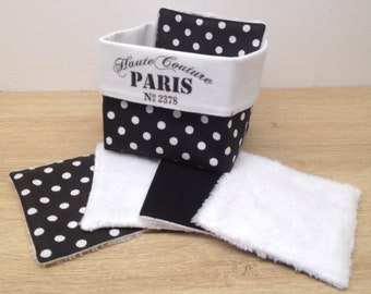 """basket """"PARIS haute couture"""" and washable and reusable wipes in Oeko-Tex cotton and bamboo velvet, environmentally friendly"""