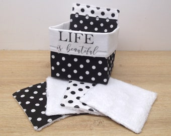 """basket """"life is beautiful"""" black and white and washable and reusable wipes in Oeko-Tex cotton and bamboo velvet, environmentally friendly"""