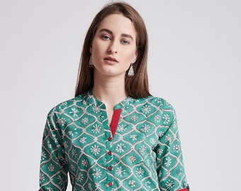 2f3d47af749 Hand Block Printed Indian tunic/ kurti in green colour