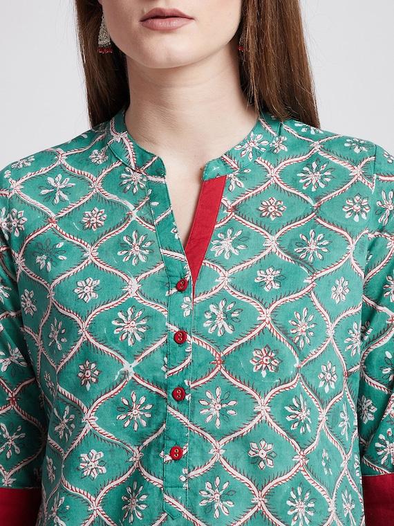 Hand Block printed Indian Green Tunic Kurti