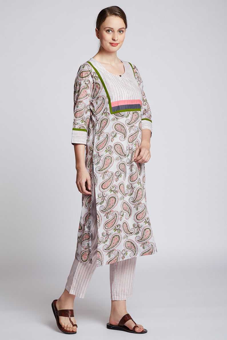Hand block paisley printed long kurta with hand block printed straight pants