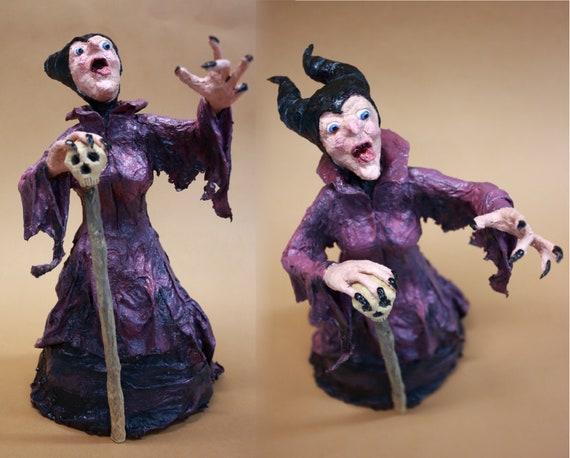 Maleficent Paper Mache Sculpture Ooak Art Doll Sleeping Beauty Home Decoration Dark Evil Fairy Gothic Art Villain Horned Goddes