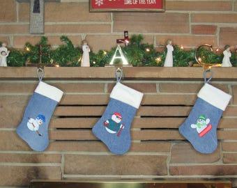 Denim Stocking, Embroidered Stocking, Flannel Stocking, Rustic Stocking, Christmas Stocking, Holiday Stocking, Kid's Stocking