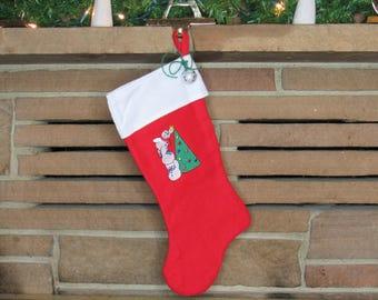 Embroidered Stocking, Handmade Stocking, Kids Stocking, Snowman Stocking, Unique Xmas Stocking, Christmas Stocking, Yuletide Stocking