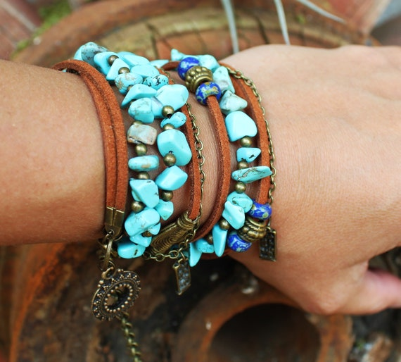 African Fashion For Women Chrysocolla Stone And Brown Faux Etsy