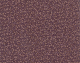 By The Continuous HALF YARD RARE #46204-11 Leaves Berries on Purple Mill Book 1892 by Howard Marcus for Moda Collections for a Cause