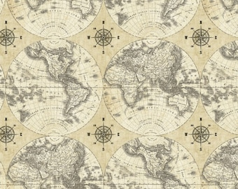 Flat world globe etsy rare by the half yard world maps by sue schlaback for windham pattern 40026 x vintage flat world map with compasses on parchment cream gumiabroncs Images