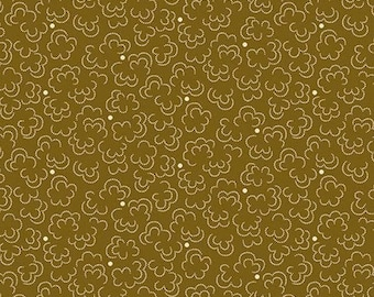 Rare - By The Continuous HALF YARD - Chatham Hall by Kathy Hall for Andover, #9001-LN Dotted Clouds on Khaki Brown, Civil War, Blender,
