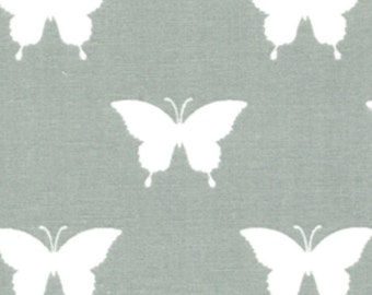 """By The HALF YARD - White 1.5"""" Butterflies on a Gray Background"""