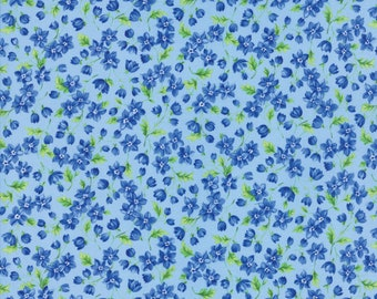 Rare - By The Continuous HALF YARD - Summer Breeze 5 by Sentimental Studios for Moda, #33304-13 Blue Flowers, Green Leaves on Light Blue
