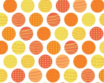 By The HALF YARD - Let's Go by Andrea Turk from Cinnamon Joe Studio for Camelot #9140406-3, Polka Dots in Orange, Striped, Scribbled Circles