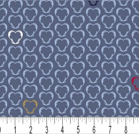 By The Continuous HALF YARD Pattern #4497-044 Light Blue Snow House by Stof Fabrics Black and Tan Antler Hearts on Blue RARE Red