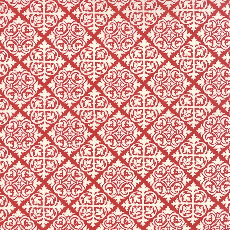 By The HALF YARD - El Gallo by Deb Strain for Moda, Pattern #19693-15 Red  Tiles, White Diamond Damask Tiles on Red