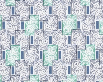 By The HALF YARD - Downton Abbey Lady Rose Collection by Kathy Hall for Andover, #7614-EC Rose Windows Mint Green. Steel Blue Geo Rosettes