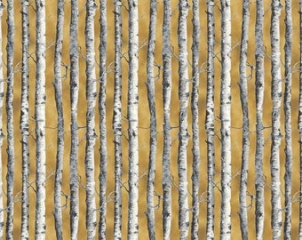 By The Continuous HALF YARD - Northwoods by Kathy Hall for Andover, #A-8243-Y Tonal White and Gray Birch Tree Trunks on Tonal Golden Brown