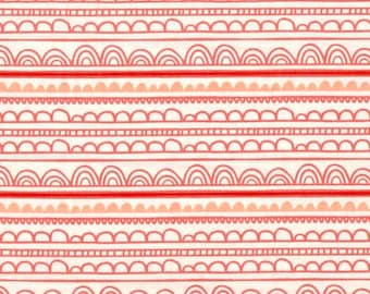 By The HALF YARD - Jungly by Andrea Turk for Camelot, Pattern #9140505-3 Scallops in White, Coral, Red and Grapefruit Scallop Stripes