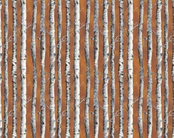 By The Continuous HALF YARD - Northwoods by Kathy Hall for Andover, #A-8243-N Tonal White and Gray Birch Tree Trunks on Tonal Rust Brown