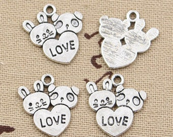 25PCs Dull Silver Tone Stainless Steel Pendant Heart Fashion Jewelry 17mmx17mm