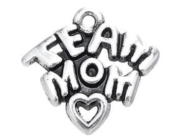 Heart and Star Charm Sterling Silver for Bracelet Sports Success Love Allstar