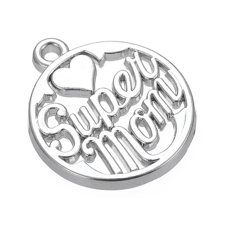 2 Super Mom Heart Charms Antique Silver Mother's Day Sports Step Mom Mommy  Mama Wife Family Love Parent In-law Jewelry Bangle Pendant#1350
