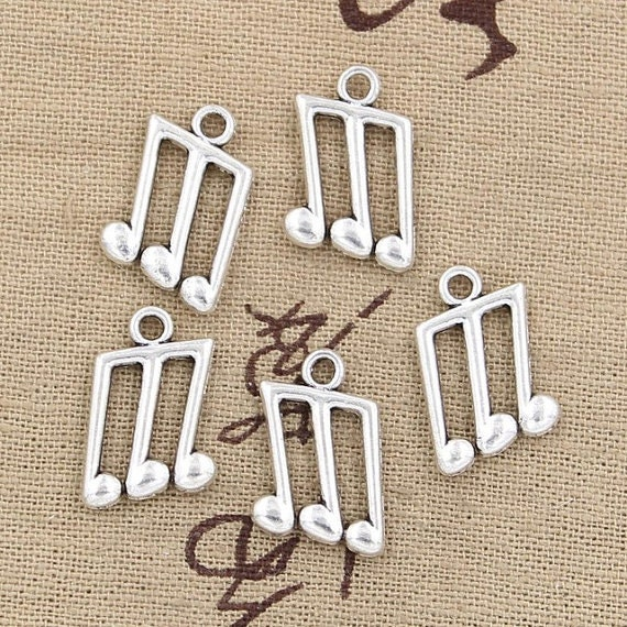 10 Music note charms antique silver tone MN13