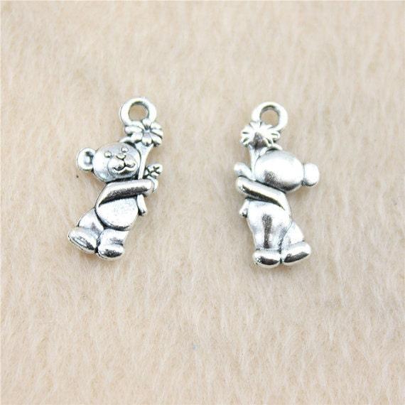10 Bear charms antique silver tone A444