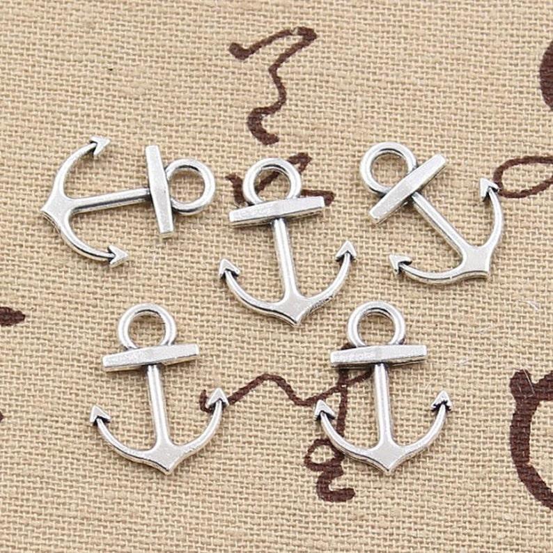 Bulk 50 Anchor Charm Antique Silver Tone Nautical Charm Harbor Charms Sea Charm Sailing Charm Ship Charm Bangle Bracelet Pendants #26