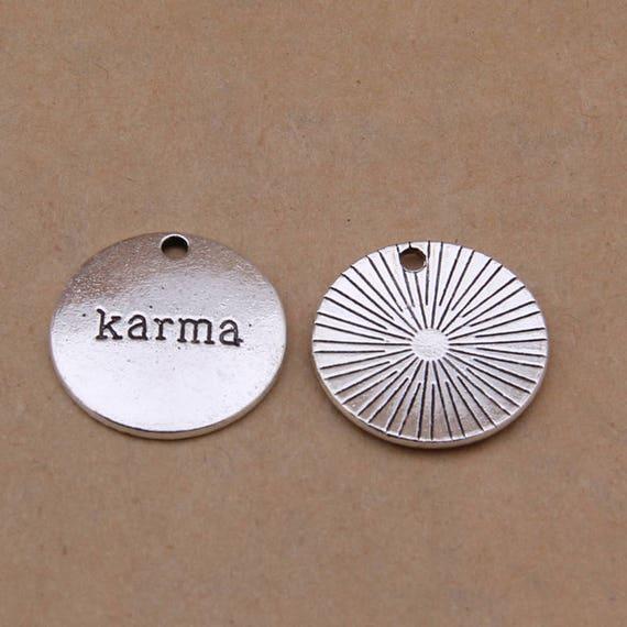 4 Karma Charms Antique Silver Tone Hinduism Buddhism Symbol Etsy