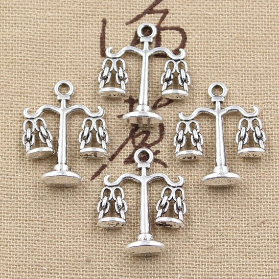 Scales Charm//Pendant Tibetan Antique Silver 22mm  15 Charms Accessory Jewellery