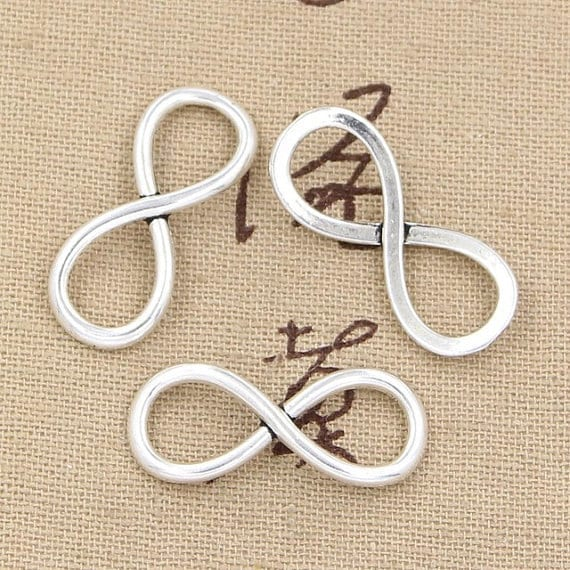 8 Large Infinity Charm Connectors Antique Silver Tone Infinity Etsy