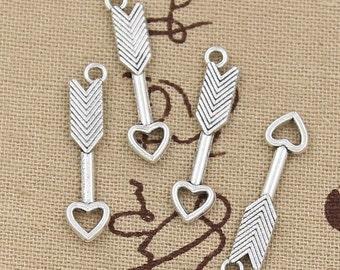 8 Arrow Antique Silver Tone Cupids Heart Arrow Charm Charm Bracelet Bangle Bracelet Pendants #718
