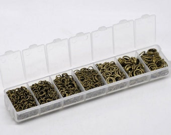 1500 Jump Rings Antique Bronze Assorted Sizes In A Handy Storage Box With 7 Compartments JRBox3