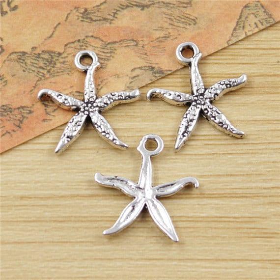 10 Starfish Charms Pendants Silver Nautical Ocean Charms 20mm