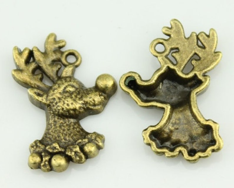 5pcs Antler charms bronze tone Large 3D Deers Antlers Charms Pendants 68x32mm
