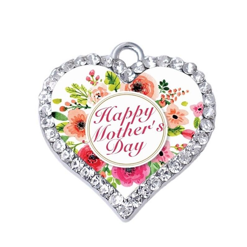 Crystal Clear Rhinestone Silver Mom Heart Charm Key Purse Chain Mother