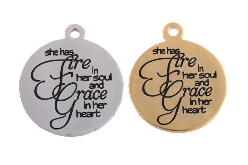 BULK 5 Pcs She Has Fire In Her Soul And Grace In Her Heart Gold Stainless Steel Charm Pendant 18mm #2161