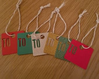 """Simple glitter Christmas gift tag with """"TO"""""""