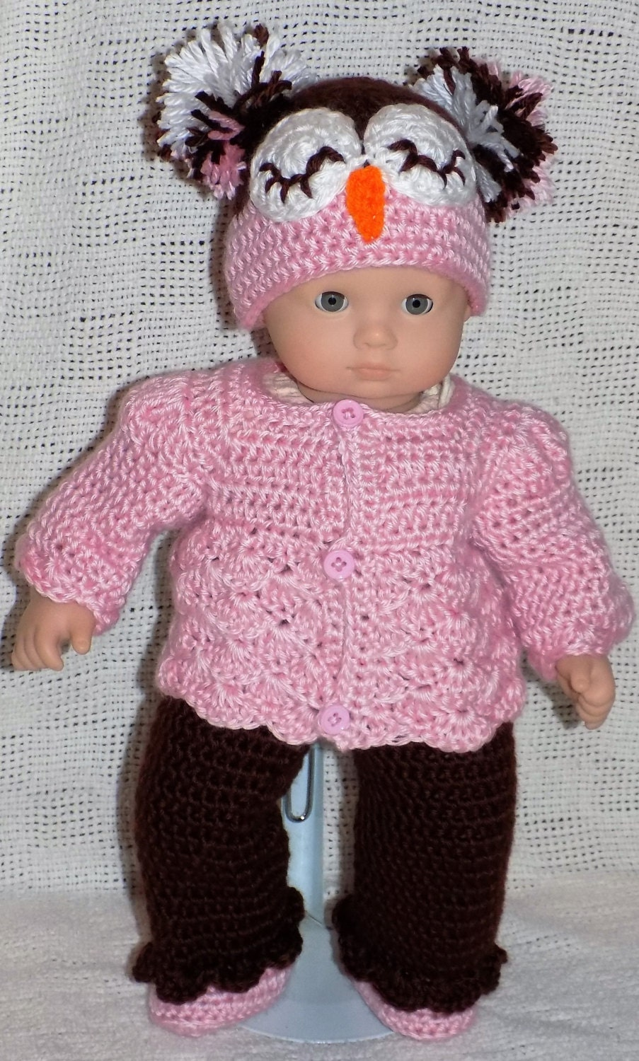 Bitty Baby Crochet Patterns- Owl Hat Outfit- PDF download from ...