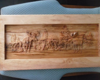 SCERNERY-WOOD CARVINGS--moose on the plains---8 x 16