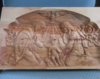 JESUS AND FAMILY---wood carving--11 x 19