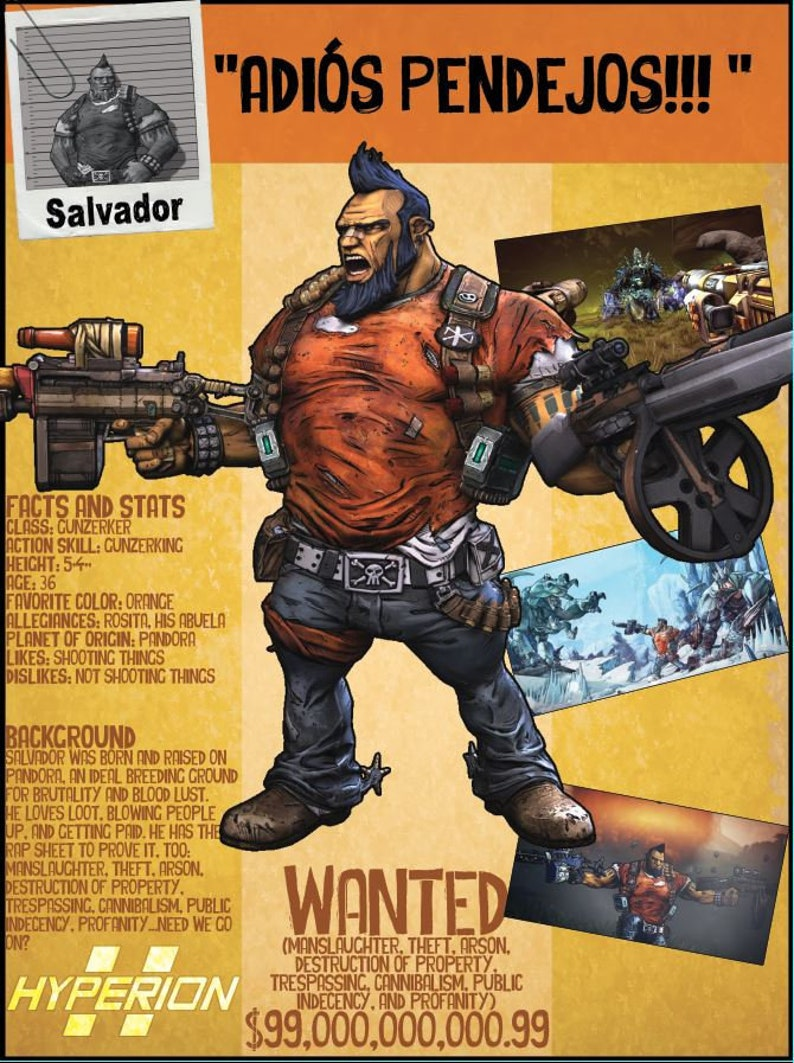 Borderlands 2 Wanted Posters - Salvador