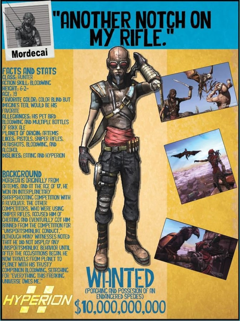 Borderlands 2 Wanted Posters - Mordecai