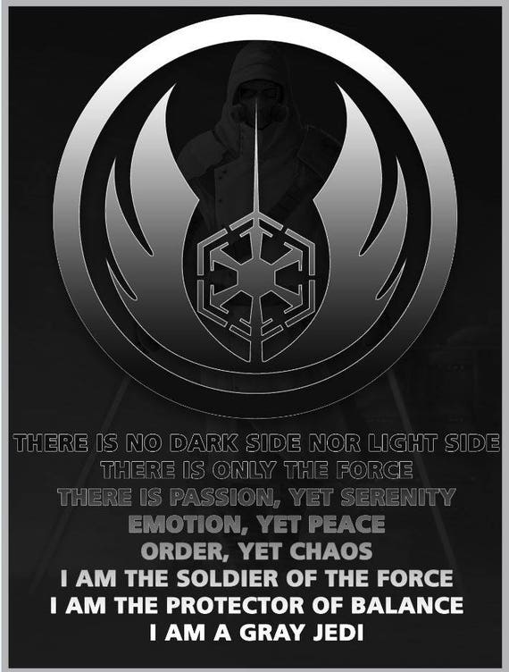 Star Wars Gray Jedi Poster Etsy