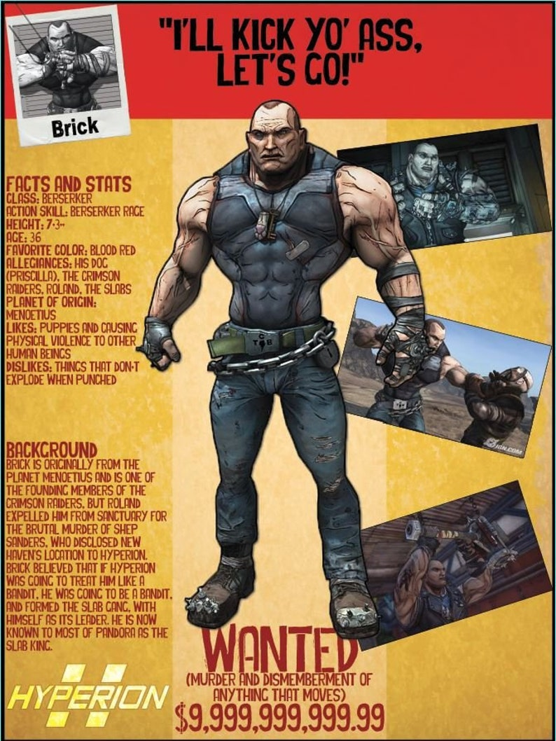 Borderlands 2 Wanted Posters - Brick