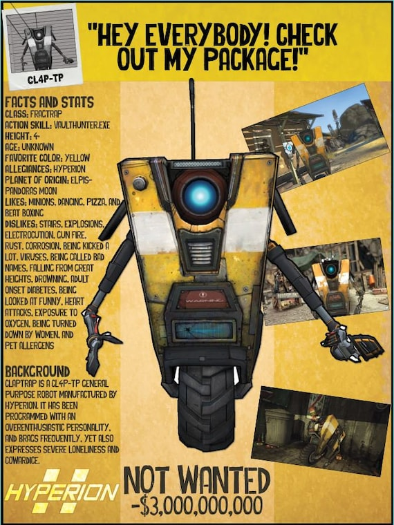 Borderlands 2 Wanted Posters - CL4P-TP